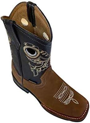 Kids Genuine Cowhide Leather Western Cowboy Rodeo Square Toe Handmade