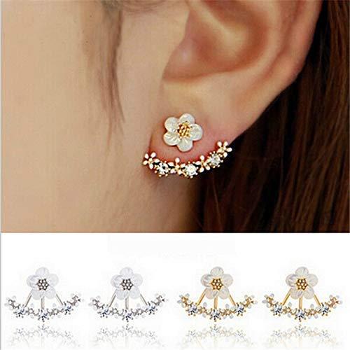 CAFA Korean Jewelry 2018 New Zircon Crystal Front Back Double Sided Stud Earrings for Women Fashion Ear Jacket Piercing Earing Koyle(Silver)