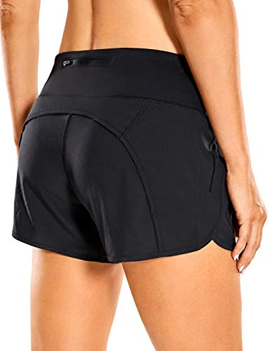 CRZ YOGA Women's Quick-Dry Athletic Sports Running Workout Shorts with Zip Pocket - 4 Inches Black 4''-R403 Small