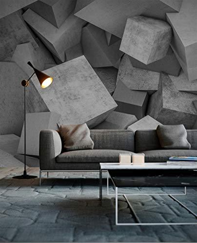 WALL-ART abstrakte XXL Fototapete 3D Effekt Geometrische Tapete Grau Betonoptik Zementstein Cubes 3,50m x 2,55m