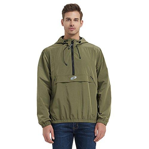 Men's Water-Resistant Hooded Quick Dry Athletic Windbreaker Jacket Hoodie