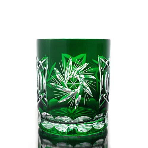 CRISTALICA Verre à Whisky Verre à Whisky Vert Verre Cristal Taillé à la Main Schleuderstern 280Ml