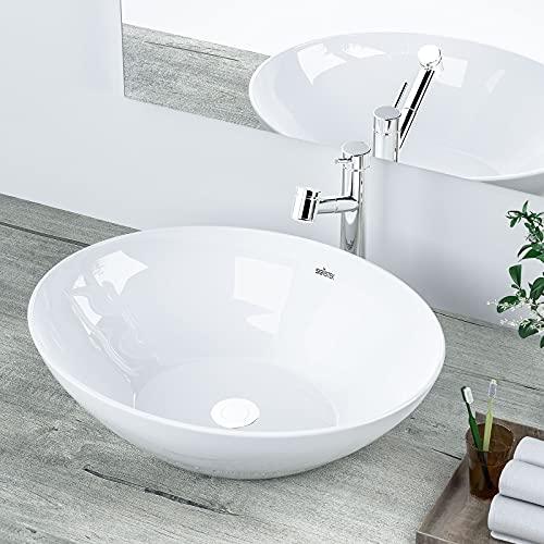 Lavandino da appoggio in ceramica, 41 x 33 x 14 cm, bianco con bobina