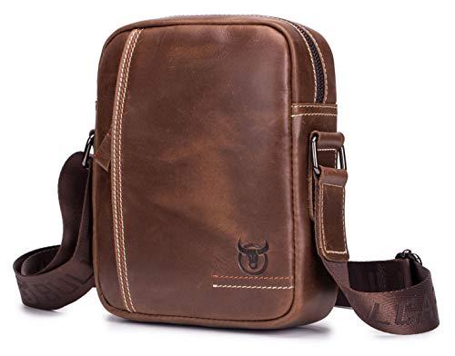 Bullcaptain Leren tas voor heren, polstas, schoudertassen, messenger-schoudertas, zakelijke aktetassen, handtassen, rugzak, crossbody sling, reistas