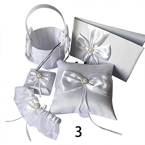 Henreal 1 Set Guest Book balpen ring kussen kousenband bloem mand bruiloft decoratie party