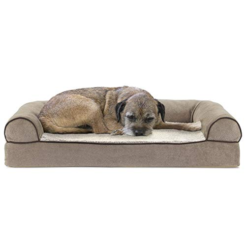 Furhaven Pet Dog Bed - Cooling Gel Memory Foam Faux Fleece and Chenille Soft Woven Traditional Sofa-Style Living Room Couch Pet Bed with Removable Cover for Dogs and Cats, Cream, Medium