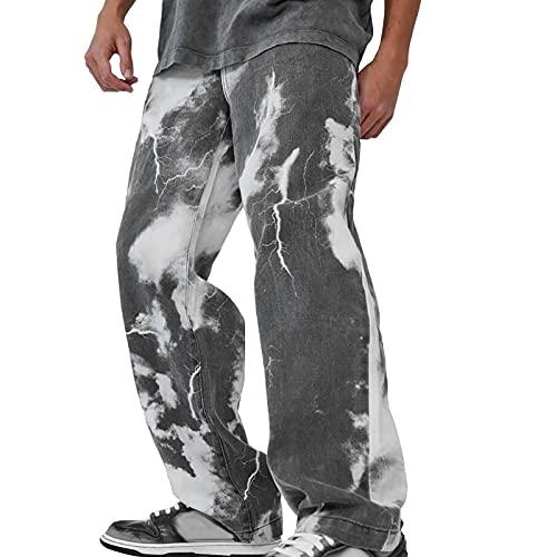 Ghemdilmn Vaqueros para hombre, estilo Baggy Y2K, pantalones vaqueros rectos con pernera ancha, estilo vintage, pantalones vaqueros Harajuku Hip Hop Streetwear elásticos rectos., A negro., M