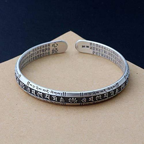 LOt 999 Sterling Silber Armreif für Unisex Unisex Vintage Buddhistische Sprüche Buddhistische Sprüche Sterling Silber Armbandklein 30g