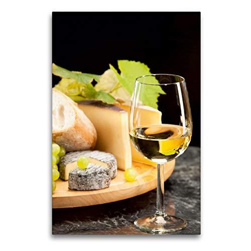 CALVENDO Premium Textil-Leinwand 60 x 90 cm Hoch-Format Weisswein mit Käseplatte Trauben, Leinwanddruck von Wolfgang Steiner