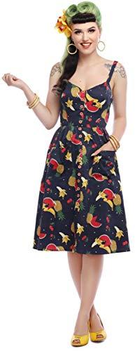 Collectif Damen Kleid Kimberly Vintage Fruit Dot Swing Dress Blau L
