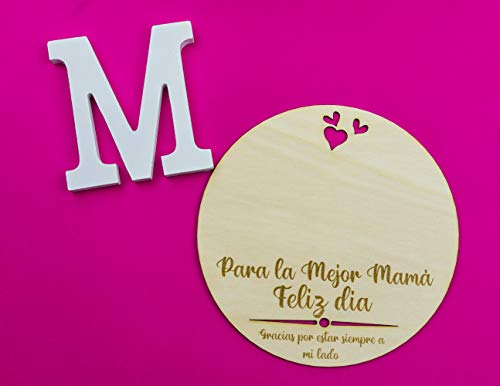 Recuerdo Madera Huella bebé o Dibujo Día de la Madre Regalo para Mamá Primeriza. Recuerdo mamá para Colgar en Madera circular de 19cm de diámetro.