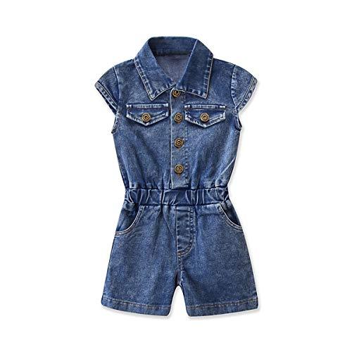 HaiQianXin Niños niña Cuello de Solapa con Botones Jeans Mono Pantalones Cortos...