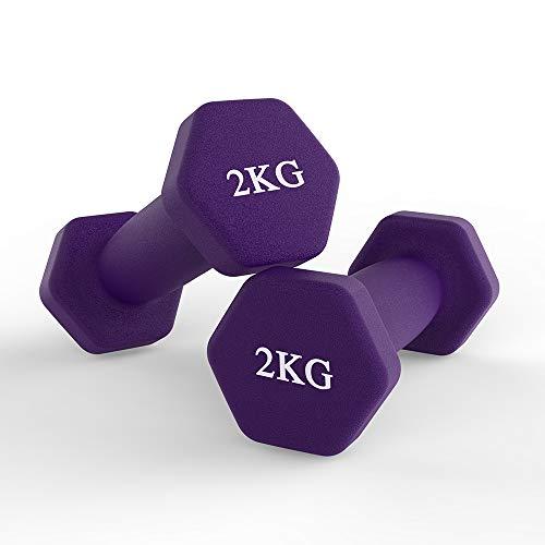hoinya Juego de 2 mancuernas hexagonales de neopreno, para aeróbic, gimnasia y entrenamiento de fuerza muscular (violeta, 2 x 2 kg)