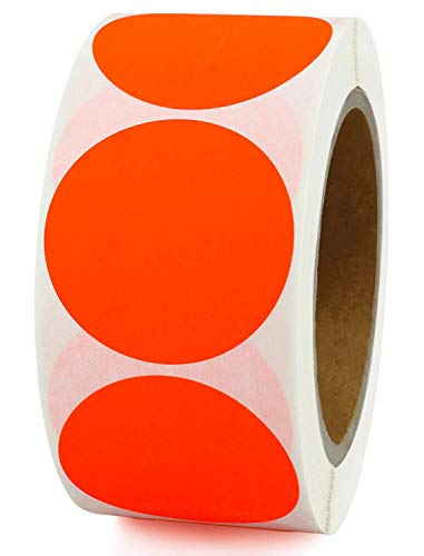 Smart Sticker 2' Inch Round Fluorescent red orange Color Coding Dot Labels - 500 Colored Circle Stickers Per Roll