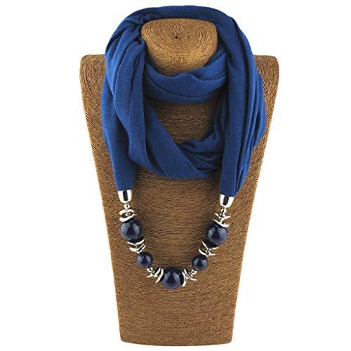 CADANIA Anello Fazzoletto da Collo Sciarpa collane Perline Scialle di Gioielli in Tinta Unita Stile Folk-Custom - 9# Deep Blue