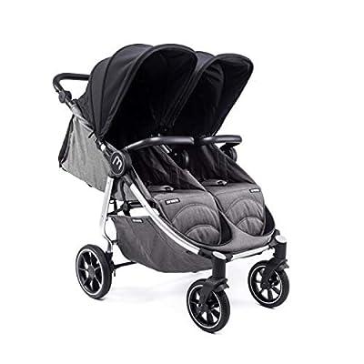 Silla Gemelar Easy Twin 4 Chasis Silver Baby Monsters Plástico de Lluvia y Barras Frontales incluidas Color Negro