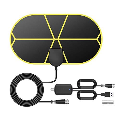 GeekerChip Antena TV Interior,Antena TV TNT Portátil con 3.7 M Cable,Soporte 4K 1080p para 4K 1080 HD/VHF/UHF,Apto para Sección los Tipos de Televisores
