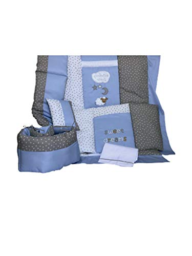 Juego de Ropa para Cunas marca Welsh (Edredón, Protectores, Cojín y Sábanas) (Estándar Americana 70x130cm, Sleepy Blue)