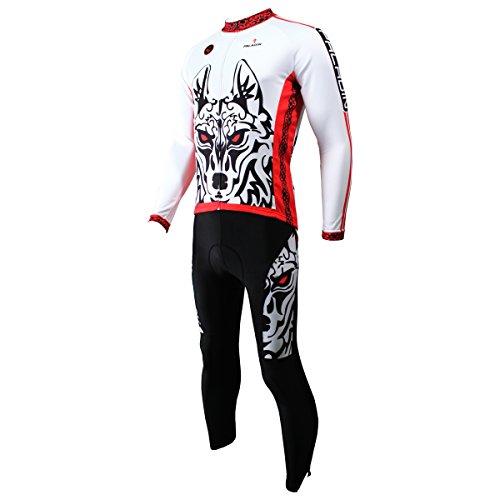 Hillento Jersey Largo de Ciclo de los Hombres 3D y pantalón-Blanco Lobo