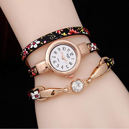 Powzz ornament Smartwatches Moda Dama Cinturón Reloj De Cuarzo Estilo Étnico Flor Rhein Reloj @Red