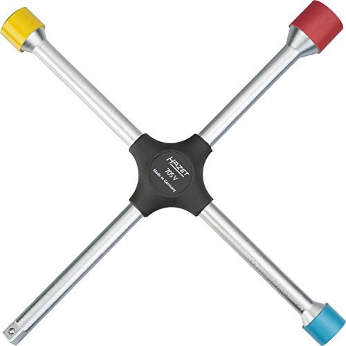 HAZET Kreuzschlüssel (alle gängigen Schlüsselweiten in einem Werkzeug, mit 1/2 Zoll (12,5 mm) Vierkant für weitere Steckschlüsseleinsätze, mit Kunststoff-Schonhülsen) 705V