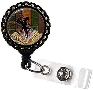 Book Fairy Retractable Name Badge holder Reels Identification Black Bottle Cap