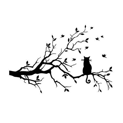 Pegatinas de pared de gato de árbol negro, calcomanías de decoración del hogar, sala de estar, dormitorio, pegatinas desmontables de PVC, 38x58 cm