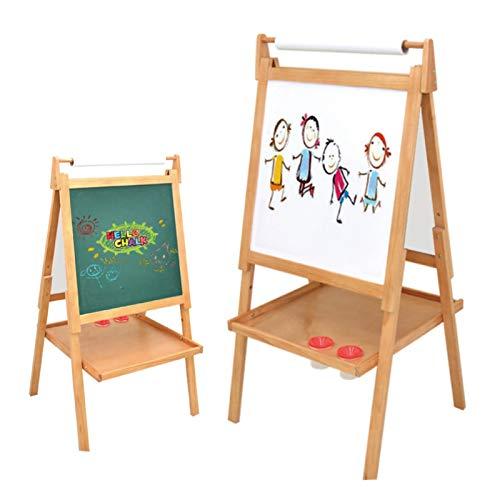 OSHA HJWMM Pizarra Magnética Infantil, Doble Cara Caballete Pintura Niños con Rollo de Papel y 2 Contenedores para Pintura Incluidos (Color : Wood Color, Size : 137x61cm)