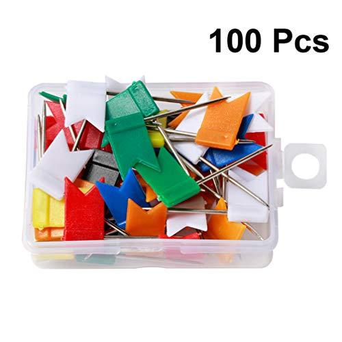 HEALLILY chinchetas de plástico con chinchetas con pines de dibujo de bandera de plástico para cartulina de corcho de mapa