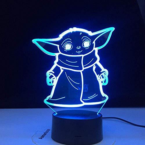 3D Illusionslampe LED Nachtlicht Mini Yoda Star Wars Cartoon Kind Schlafzimmer Dekor Tischlampe Beste Geburtstagsgeschenke für Kinder