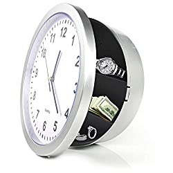 COPACHI Wall Clock with Hidden Personal Storage Space, 10 Inch Round Quartz Clock Large Black Figures Live with Battery Operated Ideal for Home,Kitchen and Decorations-Sliver
