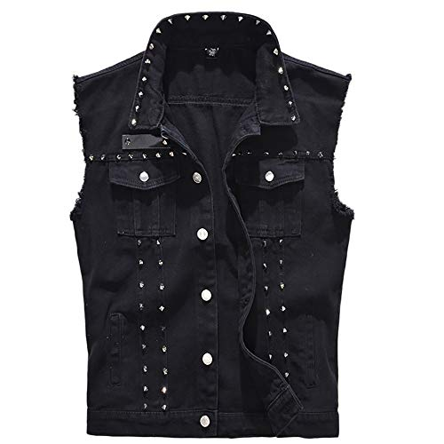 iYYVV Mens Denim Vest Casual Cowboy Jacket Ripped Holes Sleeveless Tops Black