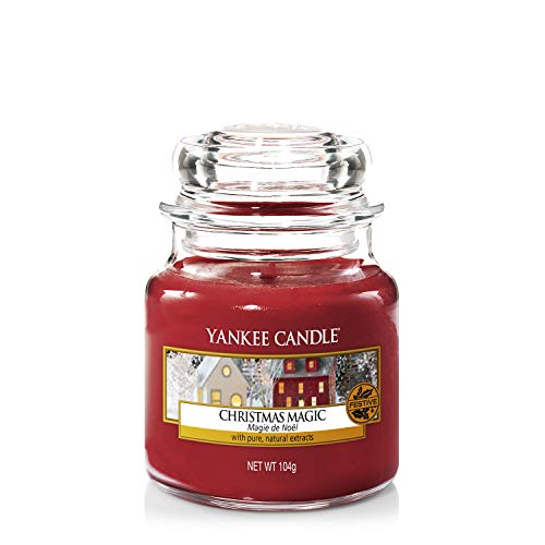 Yankee Candle Classic Glaskerze, Christmas Magic, rot, klein