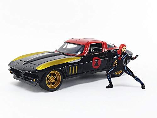 Jada Toys Marvel Avengers Black Widow & 1966 Chevrolet Corvette 1/24 Die-cast Model Car