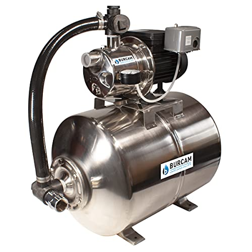 BURCAM 506538SS 3/4HP Stainless Steel Shallow Well Jet Pump System, 15 Gal Stainless Steel Pressure Tank