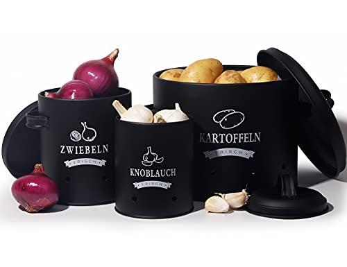 Theo&Cleo Kartoffel Vorratsdosen Set, Kartoffeltopf im Retro Design Zwiebeltopf, Großer Vorratsbehälter aus Metall, Küche Aufbewahrung, Kann Kartoffeln für eine Lange Zeit lagern (Schwarz-Set)