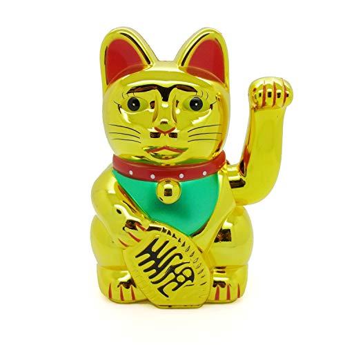 Starlet24 winkende Glückskatze Winkekatze Lucky Cat Maneki-Neko Katze Glücksbringer (Gold Glänzend, 15cm)