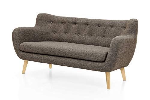 Furniture for Friends Möbelfreude Couch Jana Braun Sofa Dreisitzer mit Massivholz-Füßen - Eiche 86 cm (H) x 182 cm (B) x 80 cm (T)