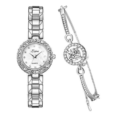 FITYLE Pulsera de Lujo Rosa y Conjunto de Relojes de Moda Brazalete de Cadena Reloj de Cuarzo Reloj de Pulsera Regalo de joyería para Banquete - Blanco Plateado de Plata