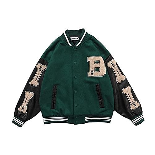 Chaquetas de Bloques de Color Peiny Hip-Hop Bones Patchwork, Harajuku Streetwear Chaqueta Bomber de Hombres, Abrigos de béisbol Unisex (Color : Green, Size : XL)