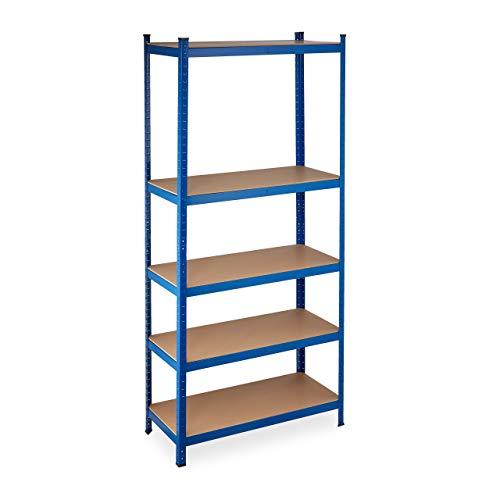 Relaxdays Schwerlastregal XL, Traglast 1325 kg, 220x100x45 cm, 5 Böden, zum Stecken, Stahl, für Keller & Garage, blau