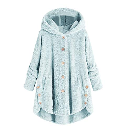 Damen frauit kapuzenjacke over-mantel-winter hoodie locker pullover long cardigan winterjacke s-hellblau