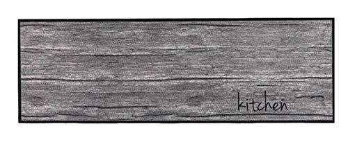 Küchenläufer Küchenteppich Teppich Läufer Teppichläufer Antirutschmatte Küchenmatte Vorleger für Küche Flur waschbar rutschfest 50x150 cm groß Motive (Kitchen Holz Grau Braun )