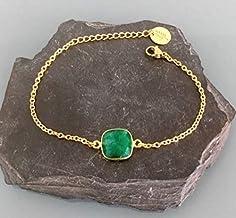 Bracciale con gemma di smeraldo placcato oro 24K, bracciale in oro, idea regalo, bracciale in smeraldo, gioielli, gioielli...
