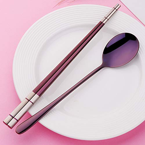 CML Juego de 1 juego de cucharas reutilizables de acero inoxidable coreano para alimentos Hashi con mango largo antideslizante palillos, cucharas de postre, juego de vajilla (color morado)