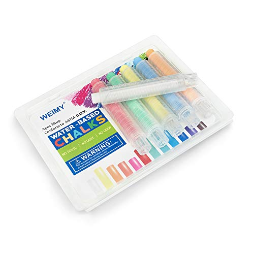 WEIMY Dustless Twistable Chalk Non-Toxic Colored Chalk 1.0mm Tip Art Tool for Chalkboard Blackboard Kids Children Drawing Writing, 6 Pack (white, orange,yellow,red, blue,green)