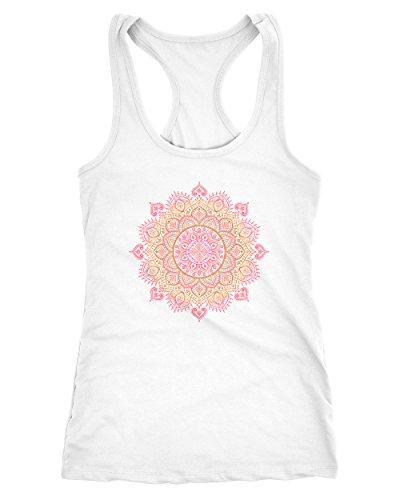 Neverless Damen Tank-Top Mandala Ethno Boho Bohemian Racerback weiß-pink S