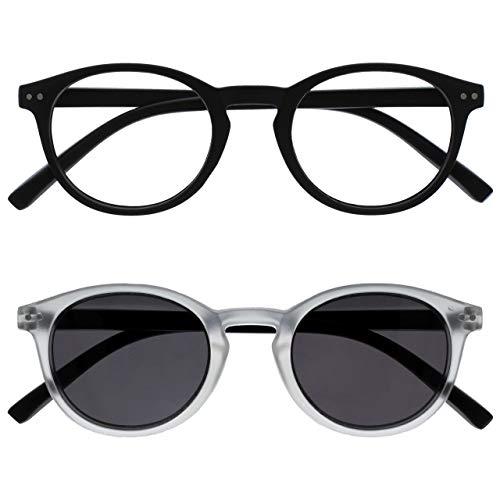 Opulize Zen Pack 2 Gafas De Lectura Con Lectores De Sol Negro Cristal Pequeño Hombres Mujeres RS24-1C +3,00