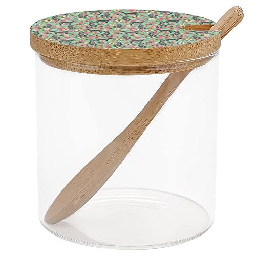 Barattolo per condimenti in vetro con coperchio in bambù e cucchiaio, per condimenti, condimenti, condimenti, con fiori irlandesi, razza di cane e menta.