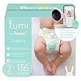 Lumi by Pampers Diapers Size 2, 136 Count, Enormous Pack - Compatible with The Lumi Pampers Smart Sleep System (Sold Separately)